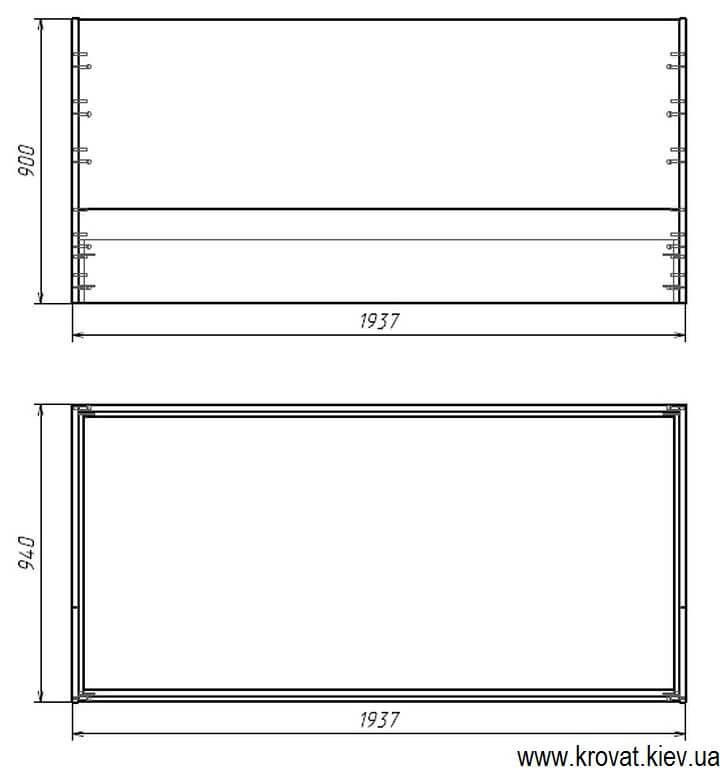 чертеж с размерами детской кровати с ящиком на заказ