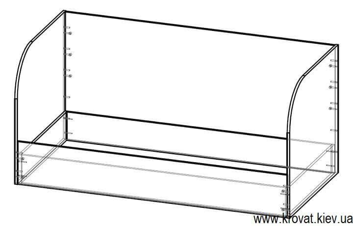 чертеж детской кровати с ящиком на заказ