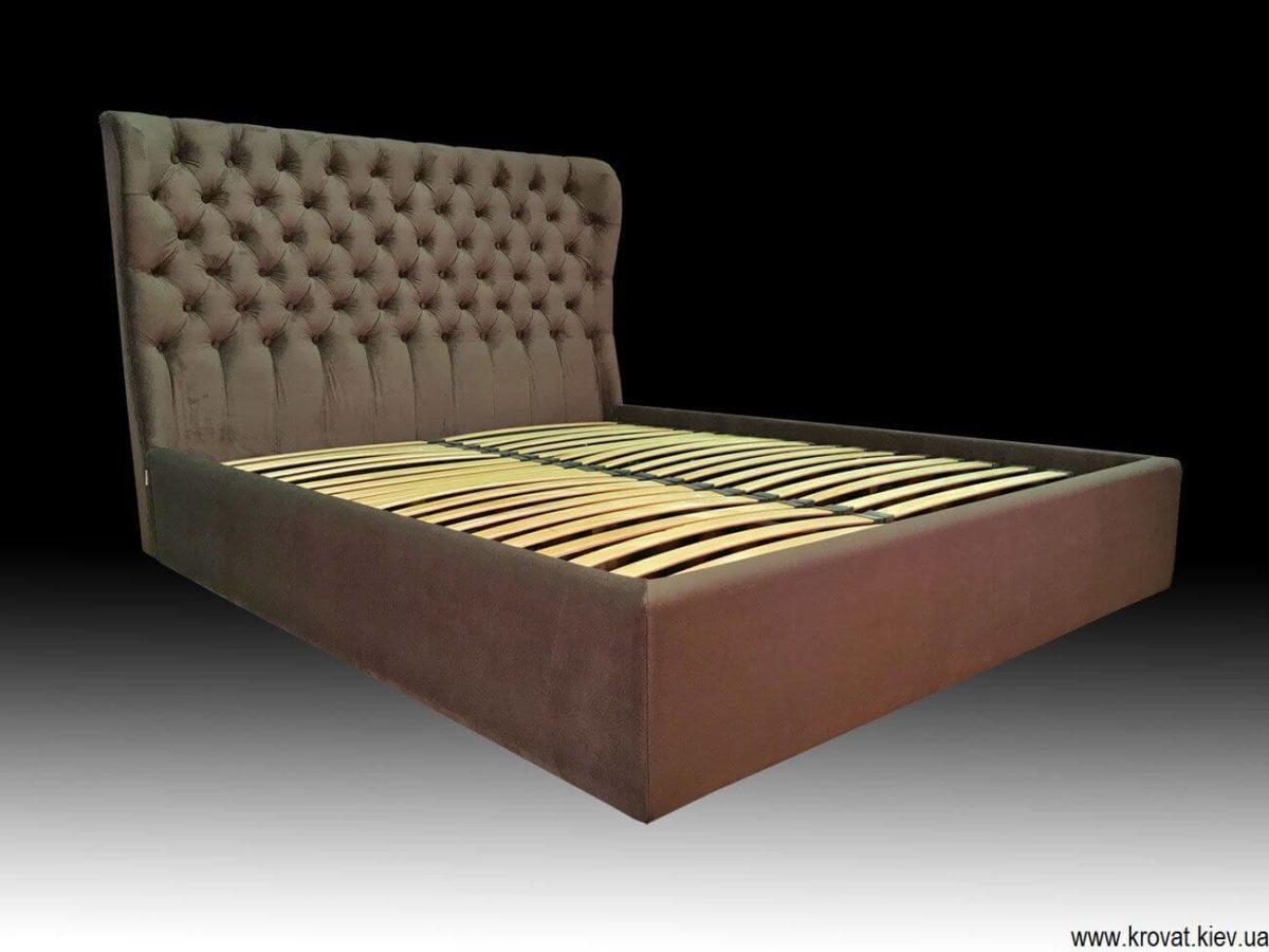кровать Валенсия в ткани коричневого цвета на заказ