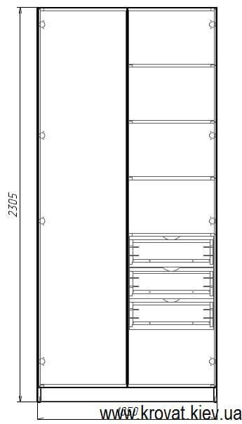 размеры распашного шкафа в детскую из ДСП на заказ