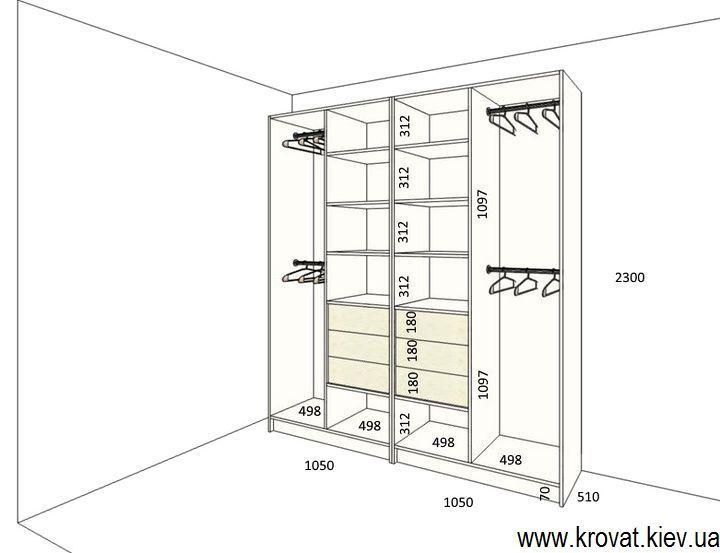 размеры расположения полок шкафа на заказ