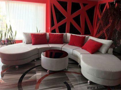 полукруглый диван в ткани микрофибра fargotex infinity