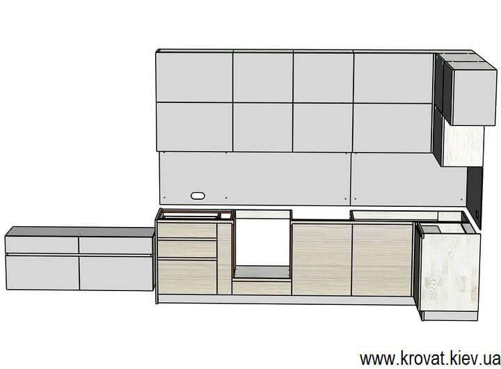 3d модель кухни servo-drive на заказ