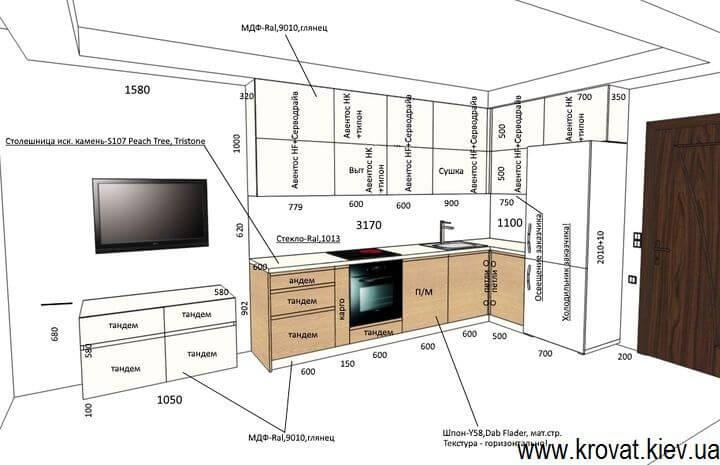 чертеж с размерами кухни servo-drive на заказ