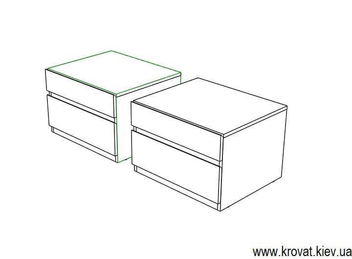 чертеж прикроватных тумбочек на заказ