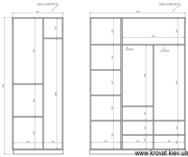 проект с размерами гардеробной комнаты в кладовке