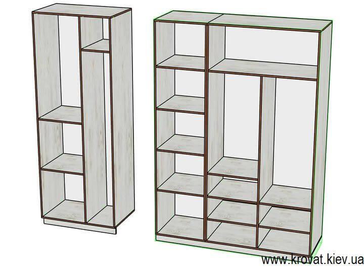 чертеж шкафов в гардеробной комнате