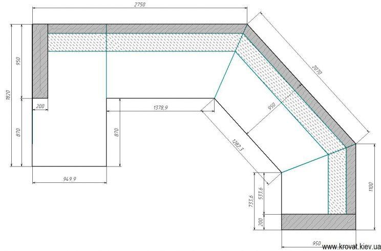 Чертеж дивана вид сверху с размерами на заказ
