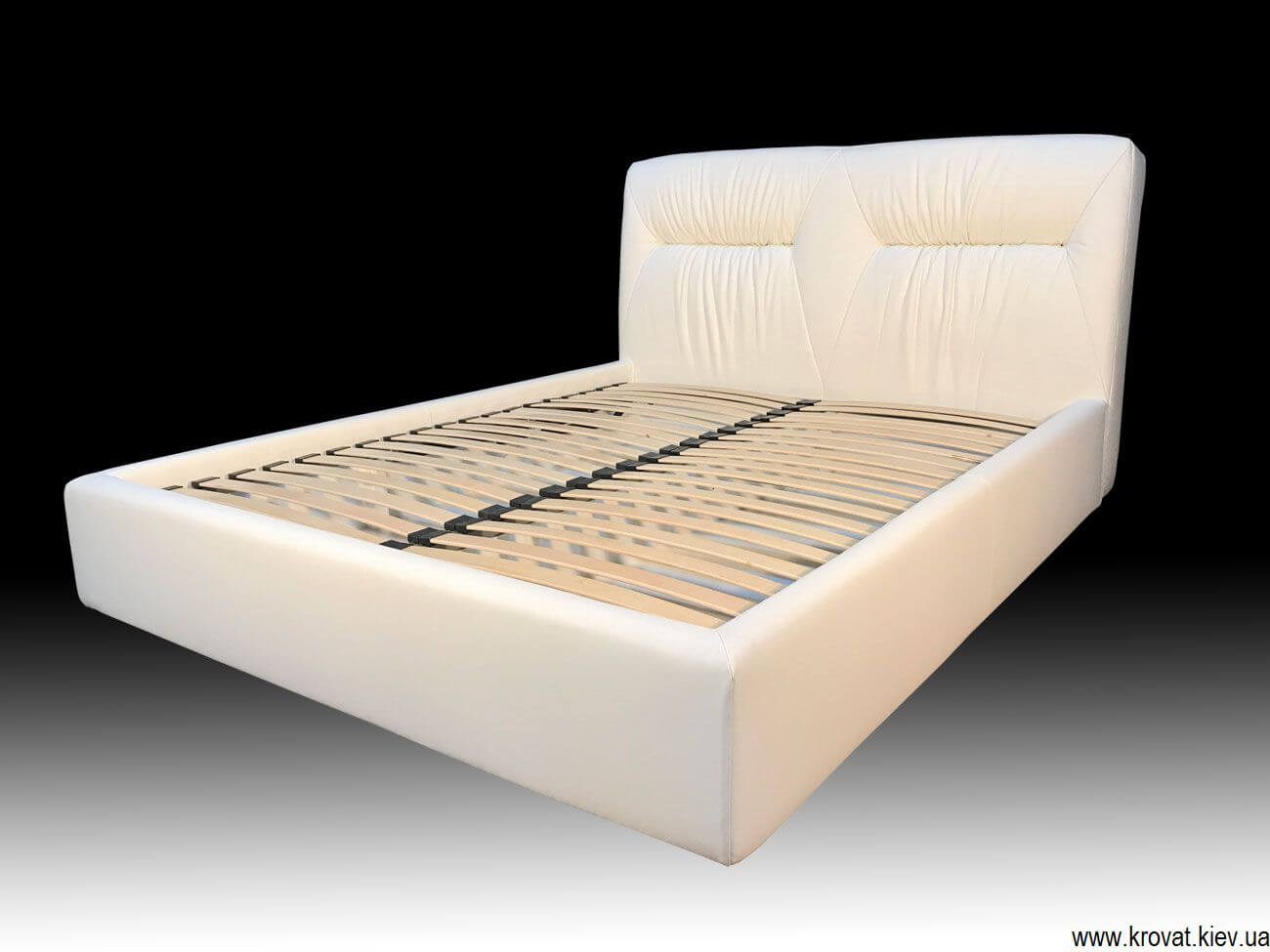 Ліжко Марсель в натуральній білій шкірі на замовлення