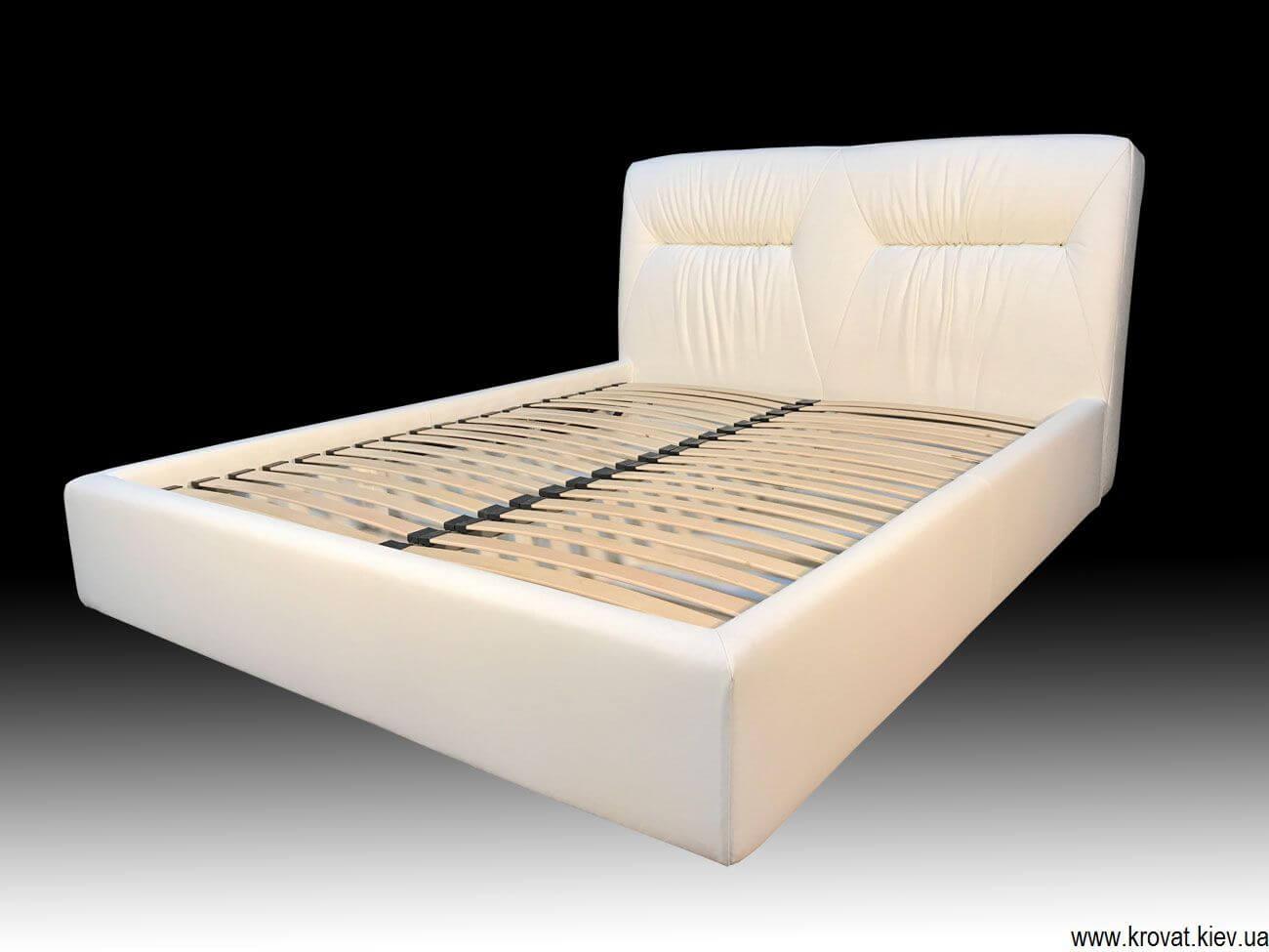 Кровать Марсель в натуральной белой коже на заказ