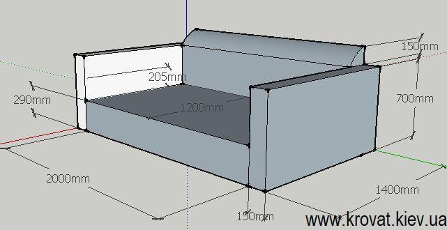 креслення дивана з розмірами на замовлення