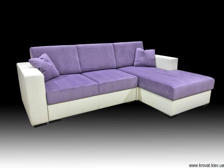 раскладной диван в сиреневой ткани пони флок