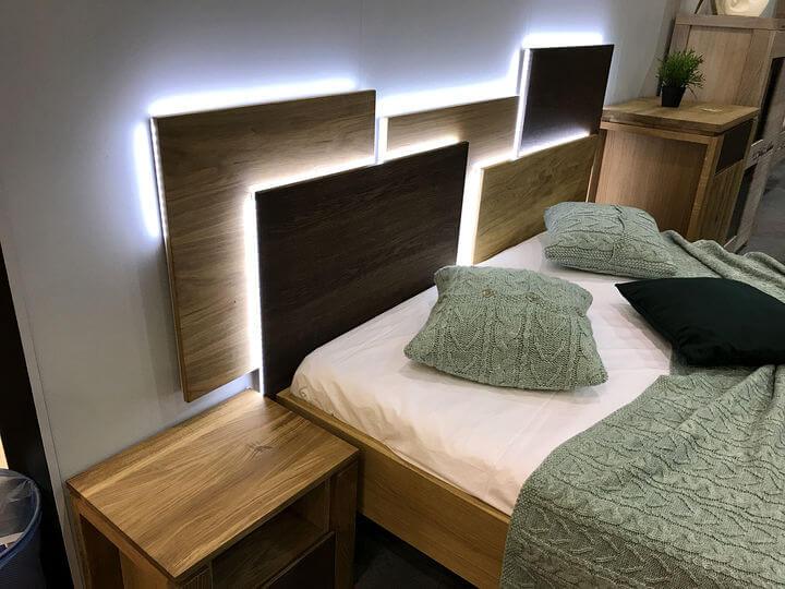 деревянное изголовье кровати с led подсветкой