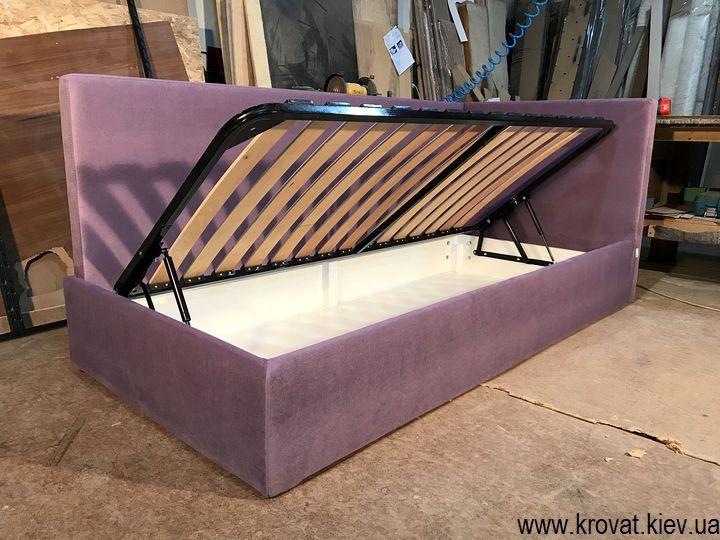 односпальная кровать с нишей для белья на заказ