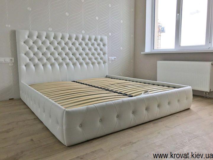 кровать без ножек из кожзама на заказ