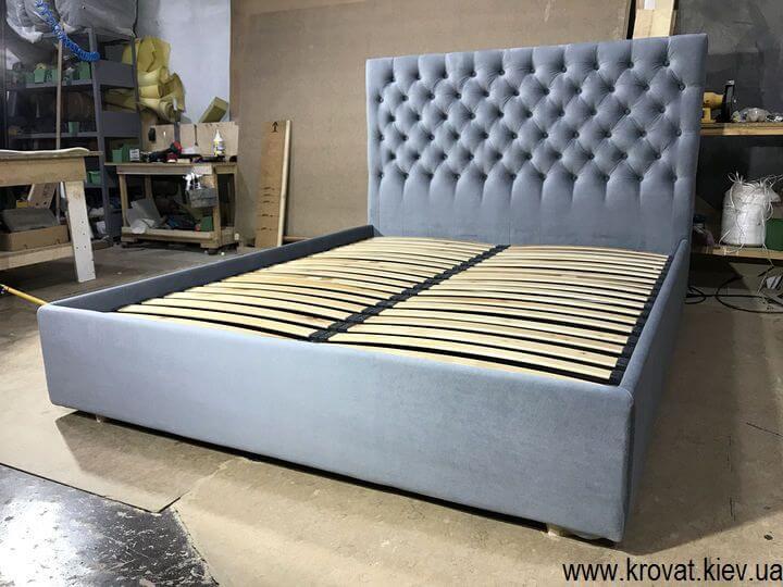 ліжка з узголів'ям з тканини з каретною стяжкою на замовлення