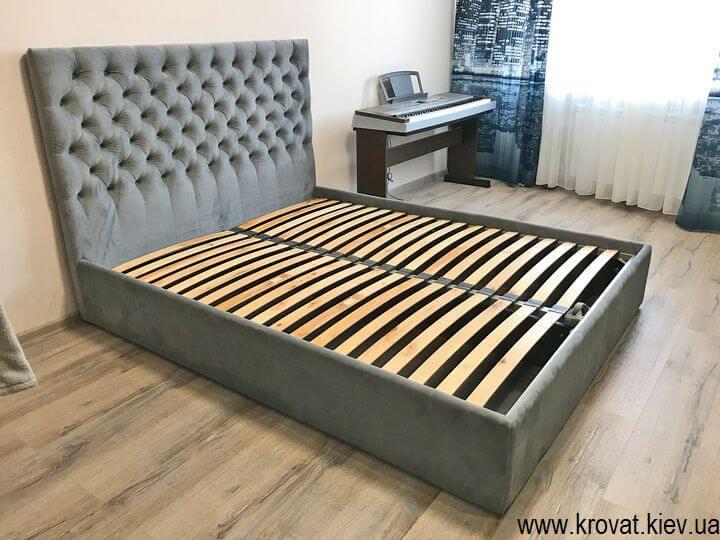 серая кровать Виченца с подъемным механизмом на заказ