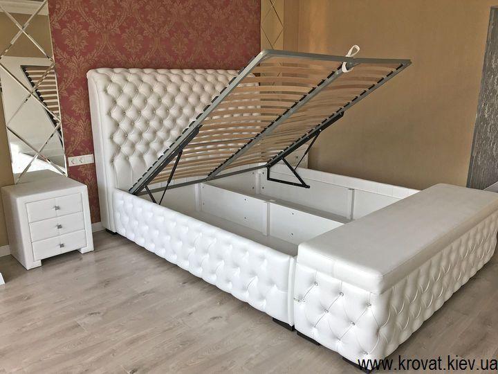 кровать с банкеткой в интерьере спальни на заказ
