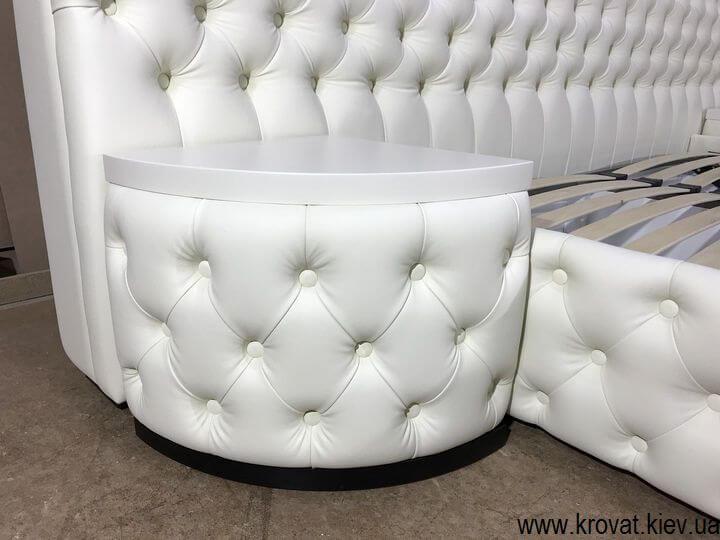 кровать кинг сайз с прикроватными пуфами на заказ