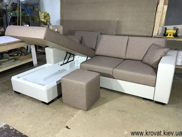 угловой диван с нишей для белья на заказ