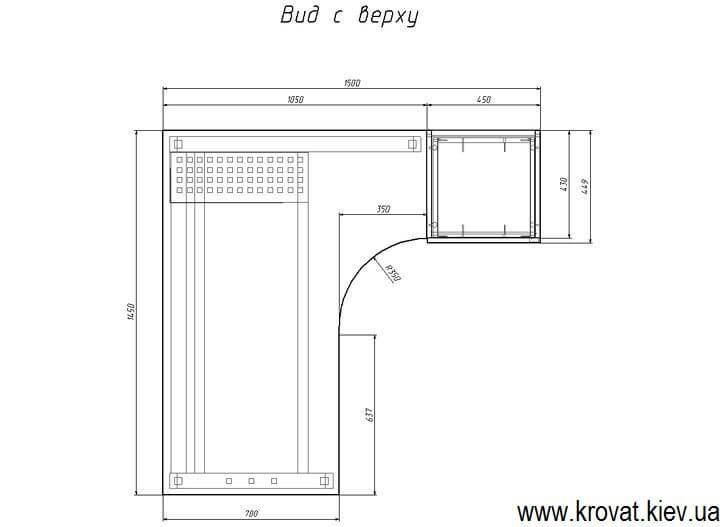 чертеж углового стола на металлических ножках на заказ