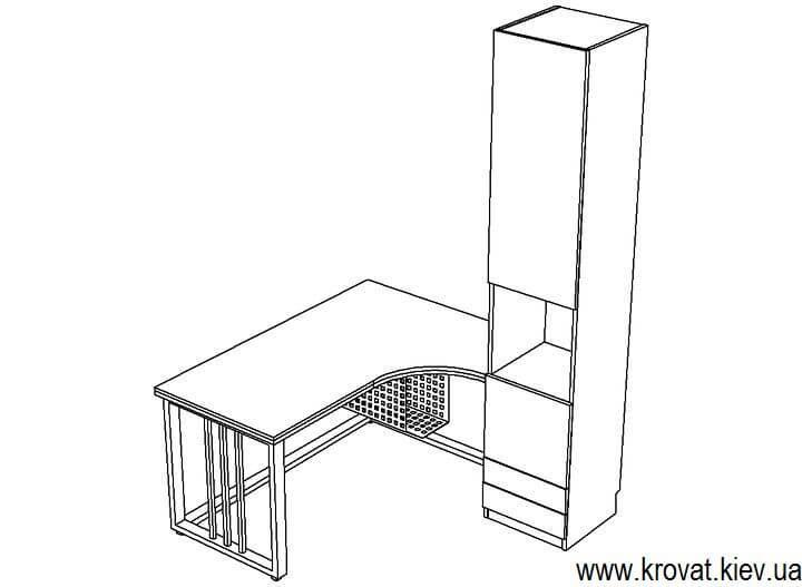дизайн проект углового стола на металлических ножках на заказ