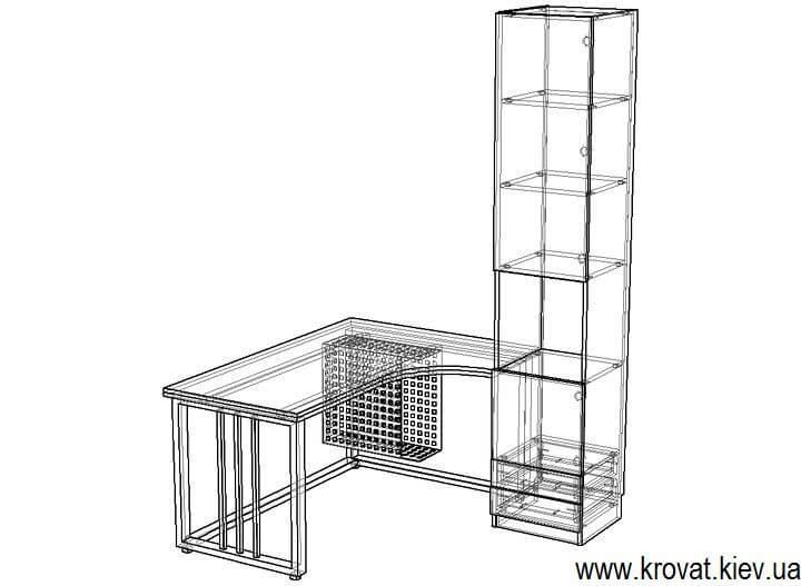 чертеж углового стола с металлическими ножками на заказ