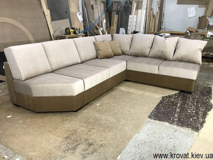 коричневый угловой диван на заказ