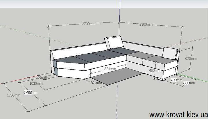 чертеж углового дивана со срезом угла на заказ