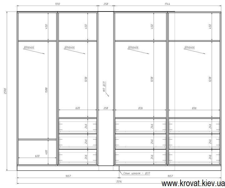 проект з розмірами вбудованої вбиральні