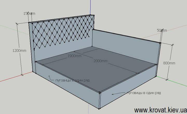 чертеж с размерами угловой кровати на заказ