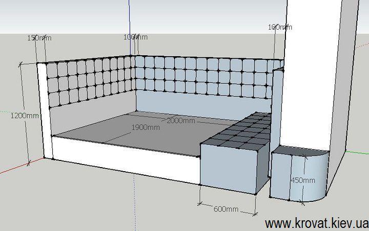 чертеж проект двуспальной кровати в нишу комнаты