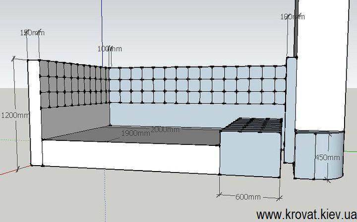 проект двуспальной кровати в нишу комнаты