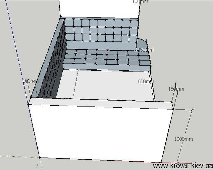 чертеж с размерами кровати в нишу комнаты на заказ