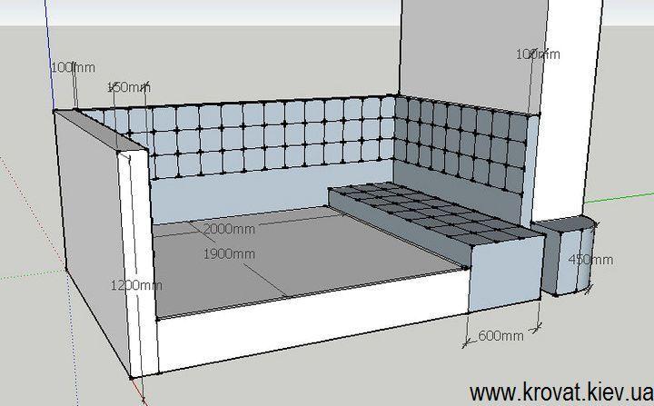 проект с размерами кровати в нишу комнаты на заказ