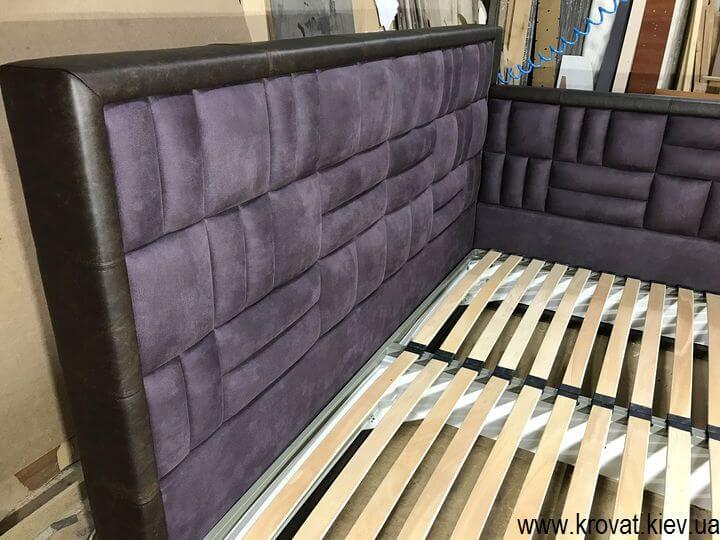 угловая кровать 200х220 с мягкой спинкой на заказ