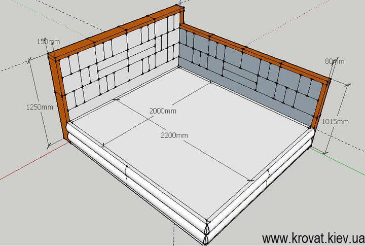 чертеж с размерами кровати 200х220 на заказ