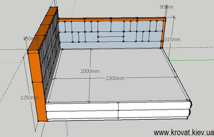 проект ліжка 200х220 на замовлення