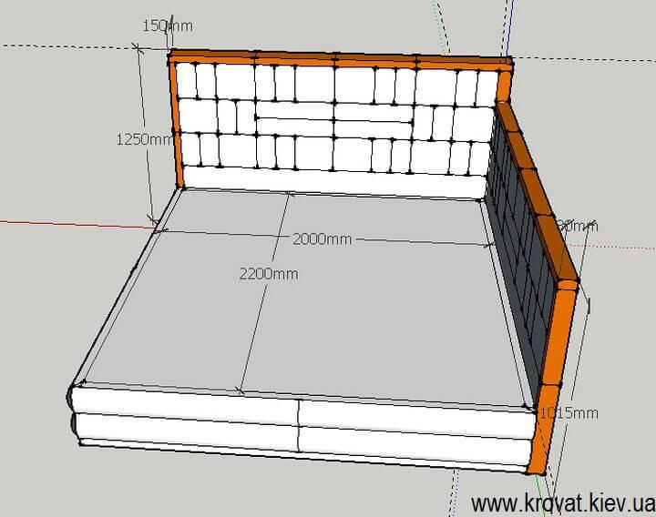 чертеж угловой кровати 200х220 на заказ