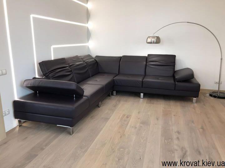 угловой кожаный диван на заказ