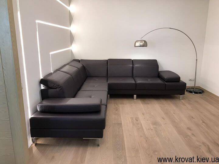 кожаный угловой диван с подголовниками на заказ