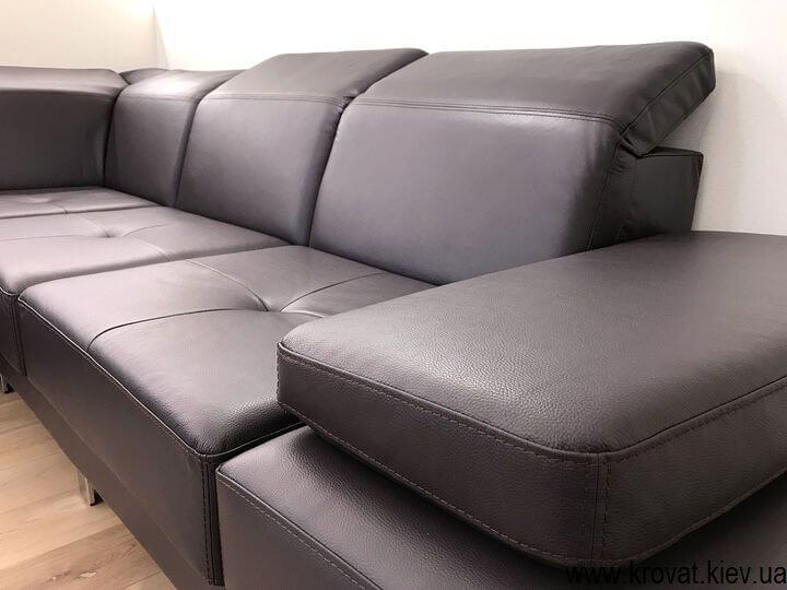 угловой диван из кожи с подголовниками на заказ
