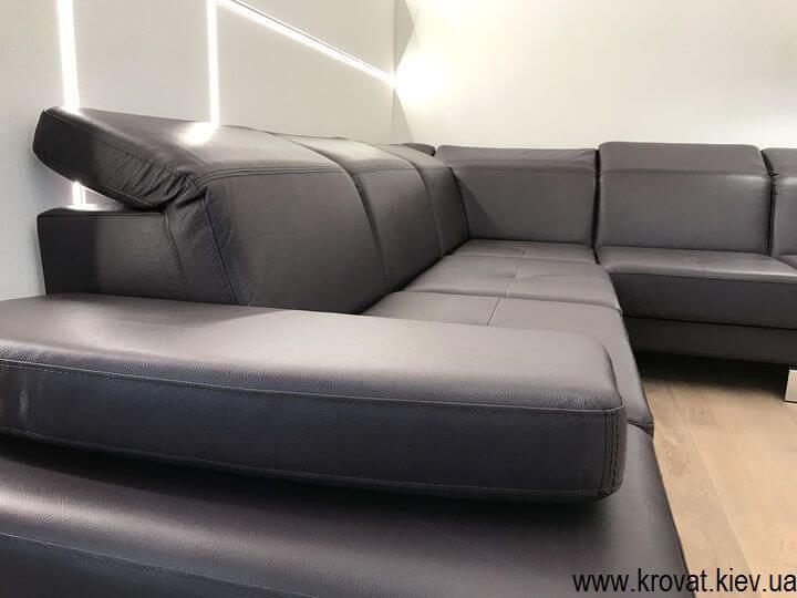 угловой диван из натуральной кожи с подголовниками на заказ