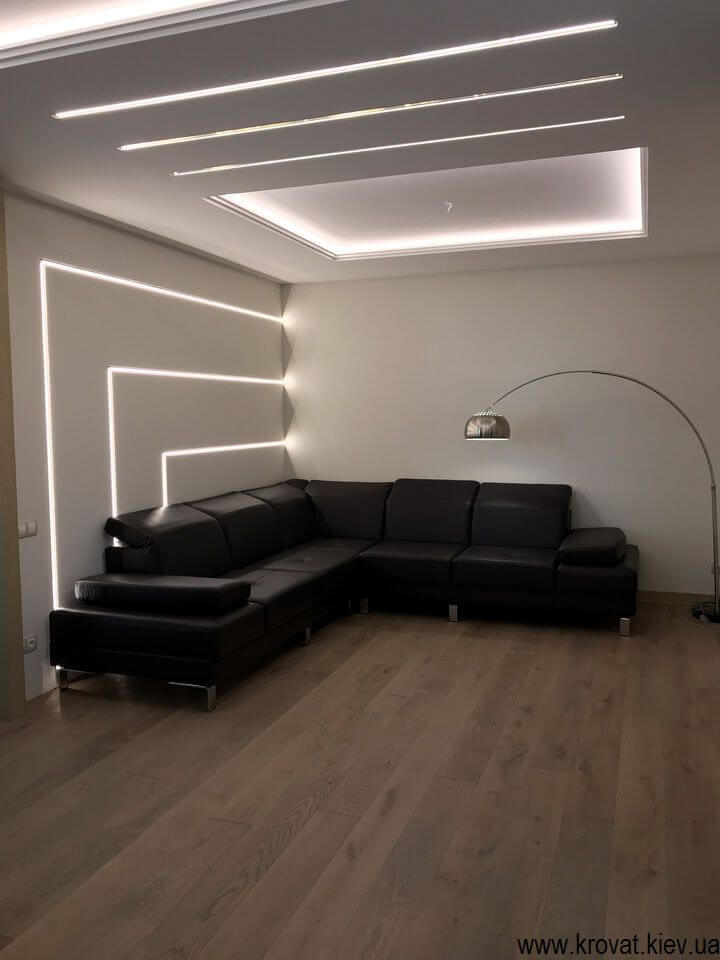 угловой кожаный диван в интерьере на заказ