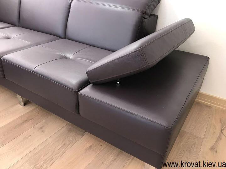 угловой диван в автомобильной коже на заказ