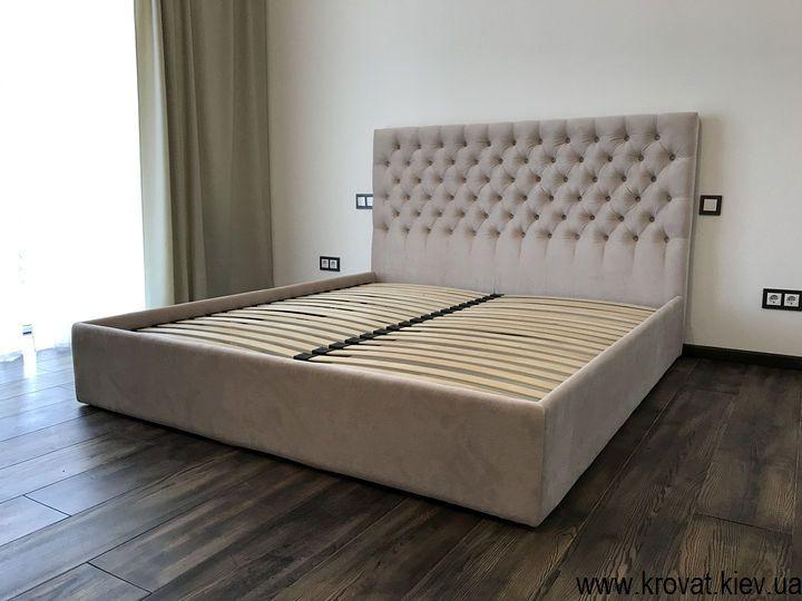 кровать с тканевой обивкой в интерьере спальни на заказ