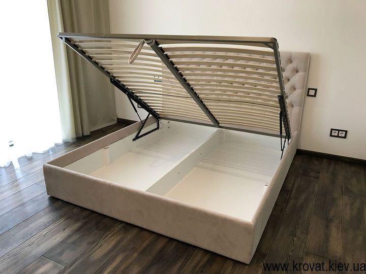 кровать в ткани с подъемным механизмом на заказ