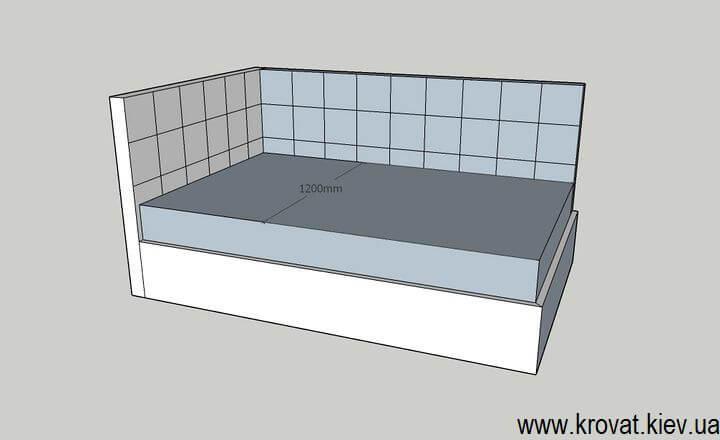 чертеж полутораспальной кровати на заказ