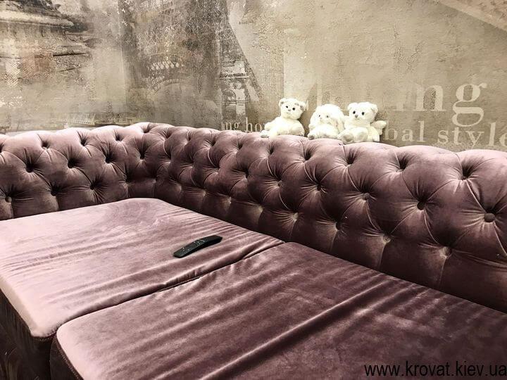 диван Честер в італійській тканині на замовлення