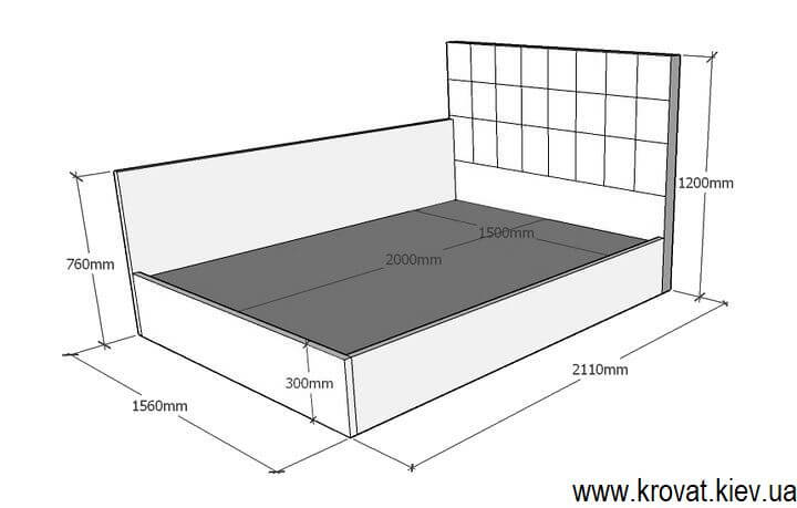 чертеж кровати со спинкой сбоку на заказ